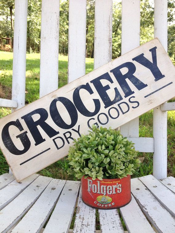 Hey, I found this really awesome Etsy listing at https://www.etsy.com/listing/287380049/grocery-dry-goods-sign-75-x-22-handmade