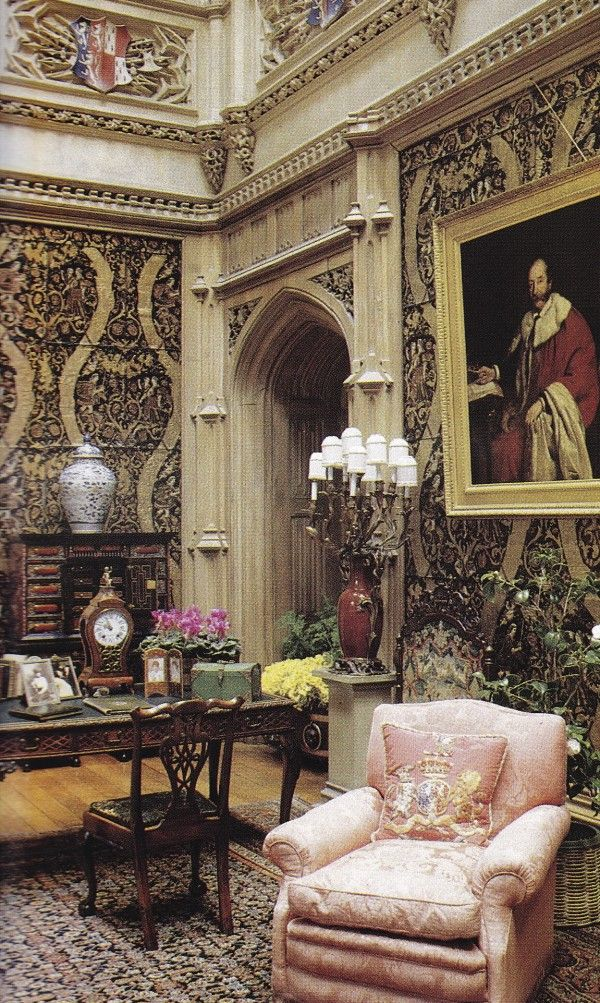 The Saloon-Highclere Castle-HG 1989-Jacques Dirand.  Reminds me of our home growing up...mmm!