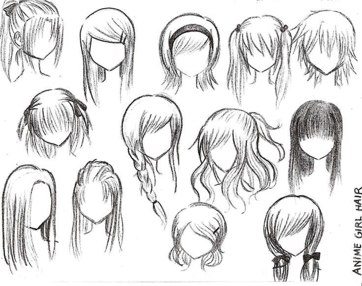anime female hairstyles drawings - Google Search                                                                                                                                                      More