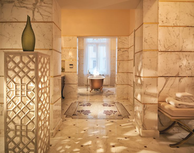 Even the Tsars would have been impressed. This glowing gold and marble bathroom is part of St Petersburg's largest Presidential Suite, at Belmond Grand Hotel Europe, which also features a hamman sauna and fitness room.