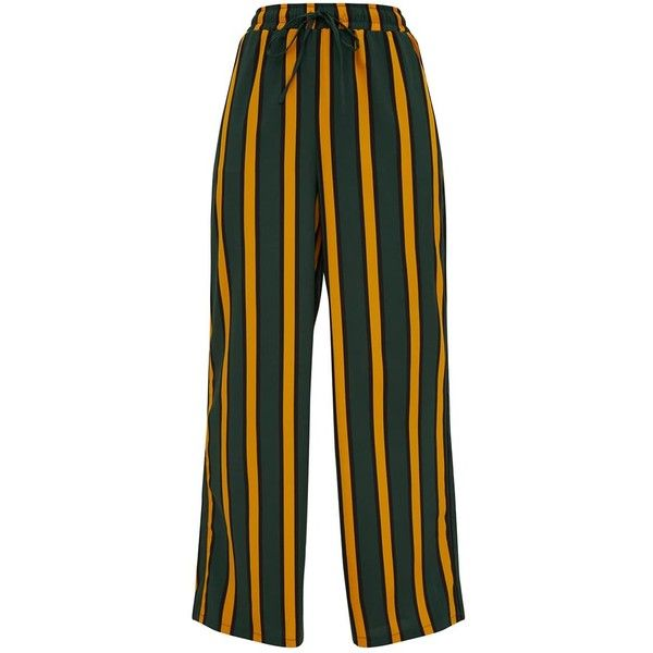 Brown Stripe Casual Wide Leg Trousers ($40) ❤ liked on Polyvore featuring pants, stripe pants, striped wide leg trousers, wide leg pants, brown pants and wide-leg trousers