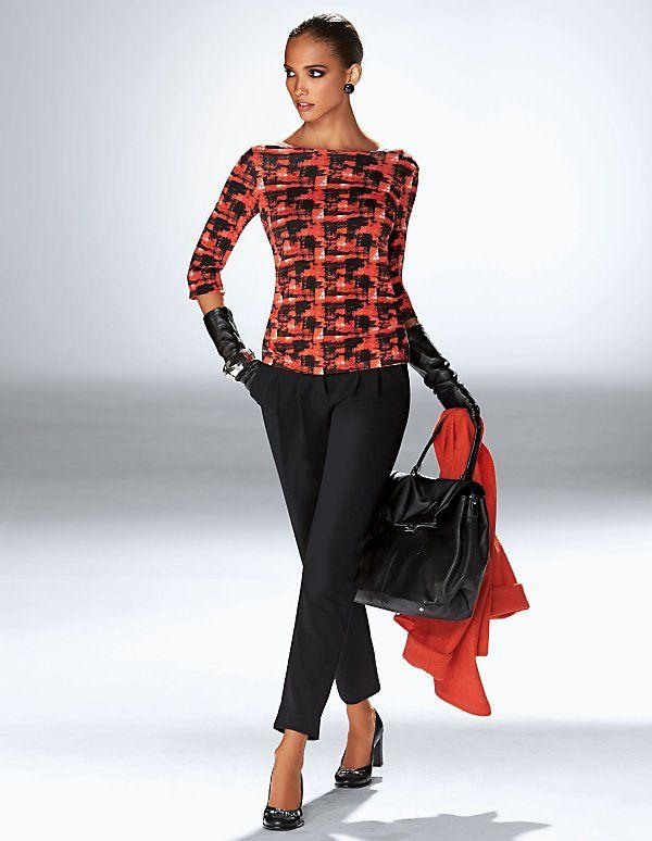 Schmale Damen Bundfaltenhose   MADELEINE Mode Österreich
