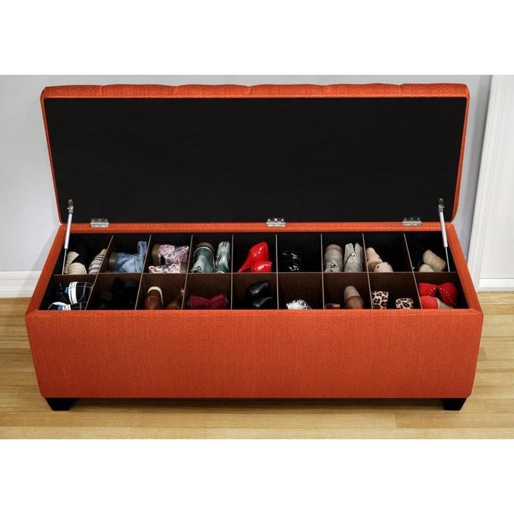 Conceal and organize you shoes in modern style with this versatile Sole Secret Candice Pumpkin shoe storage bench. This stylish bench is designed to accommodate up to men's size 12 or women's size 14 shoes.