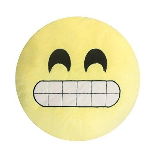 14x14 Yellow Girls Teeth Emoji Theme Throw Pillow Cute Fun Smiley Faces Sofa Pillow Pretty Silly Happy Love Funny Emotions Emojis Soft Cushion Round