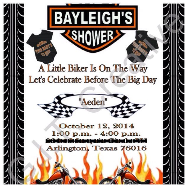 Harley Davidson Motorcycle Baby Shower Invitation