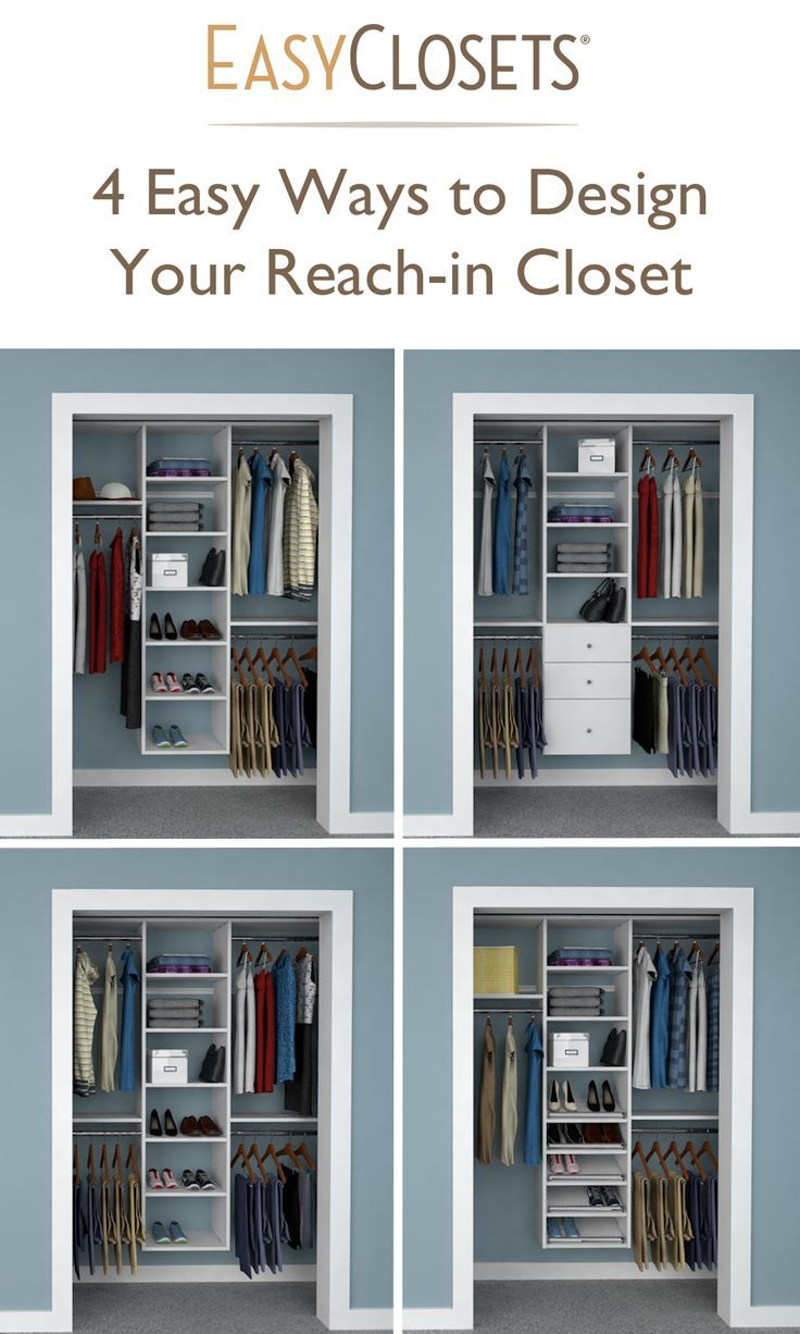 4 Ways to Design Your Reach in Closet   upper left or lower right. Best 25  Small closets ideas on Pinterest   Small closet design