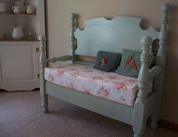 Bench made out of an old twin bed, darling!!
