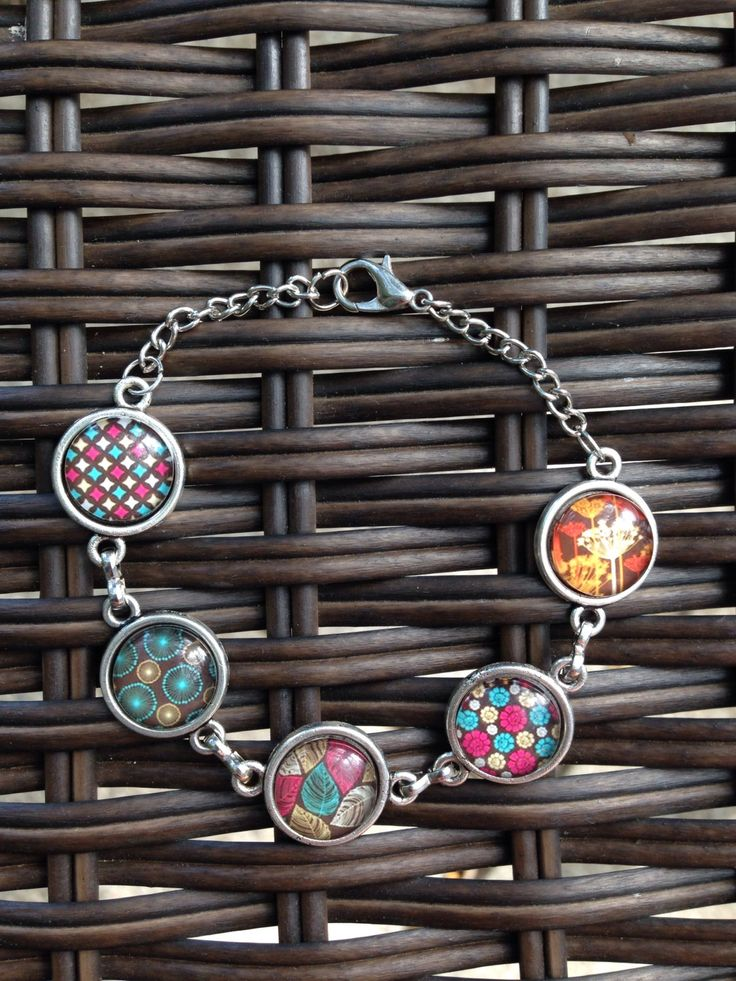 Retro look Blue Pink Orange Brown patterned Bracelet - pinned by pin4etsy.com