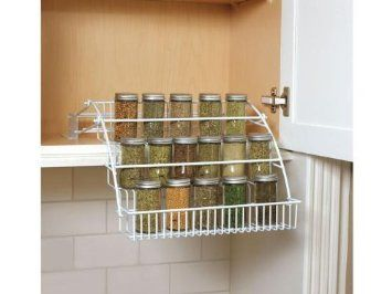 Pull Down Spice Rack - Need this! I could finally stop climbing on a chair to see what's in my spice cabinet!