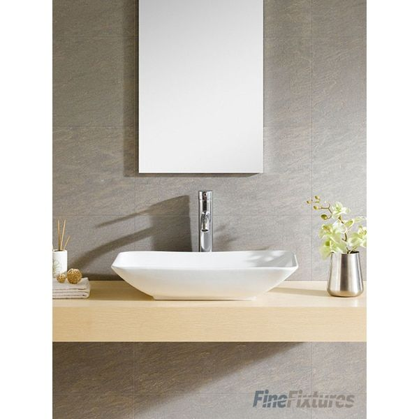Fine Fixtures White Vitreous China Rectangle Vessel Sink;22.8X14.19X4.45;overstock.com;$159