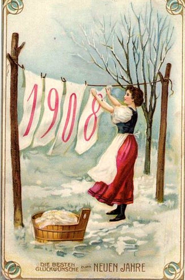 Old New Year Post Card — New Year Date, 1908 (594x800):