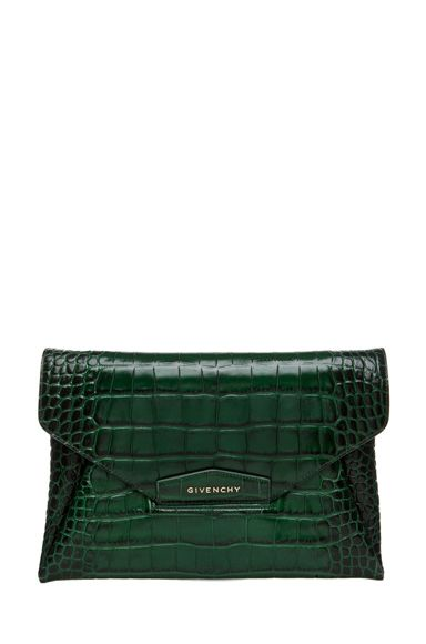Antigona Croc embossed calfskin leather clutch in emerald green - Givenchy