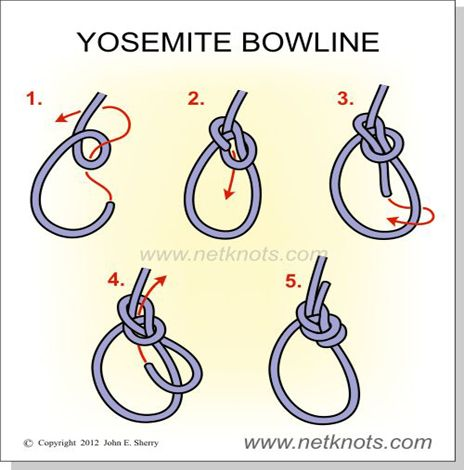 """Yosemite Bowline - A very secure loop knot.  The way I learned a basic bowline was """"the rabbit goes out the hole, around the tree and back down the hole"""".  This adds another trip back out the hole."""