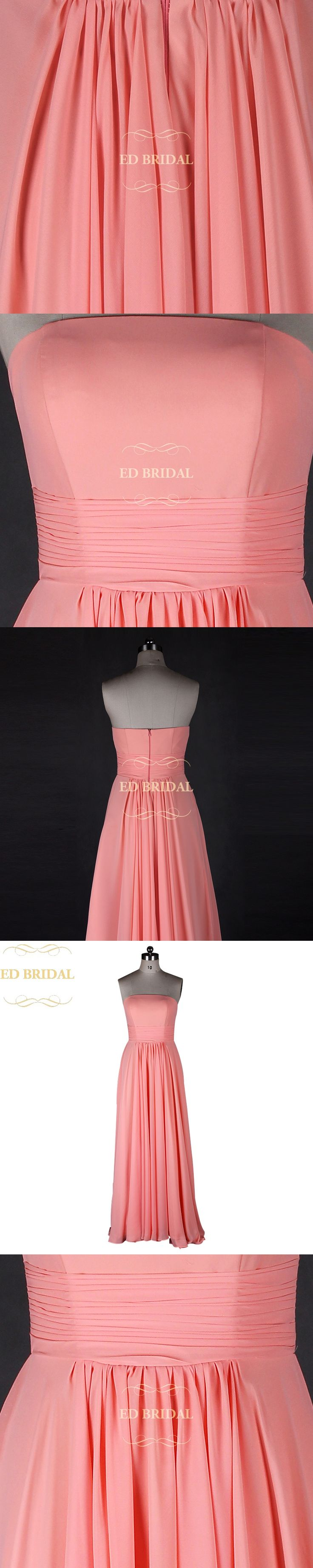 Strapless Long Coral Bridesmaid Dress Chiffon Women Special Occasion Formal Party Gown robe demoiselle d'honneur