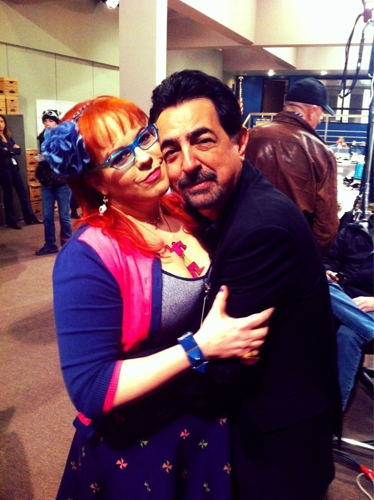 Kirsten Vangsness and Joe Mantegna on the set of Criminal Minds.