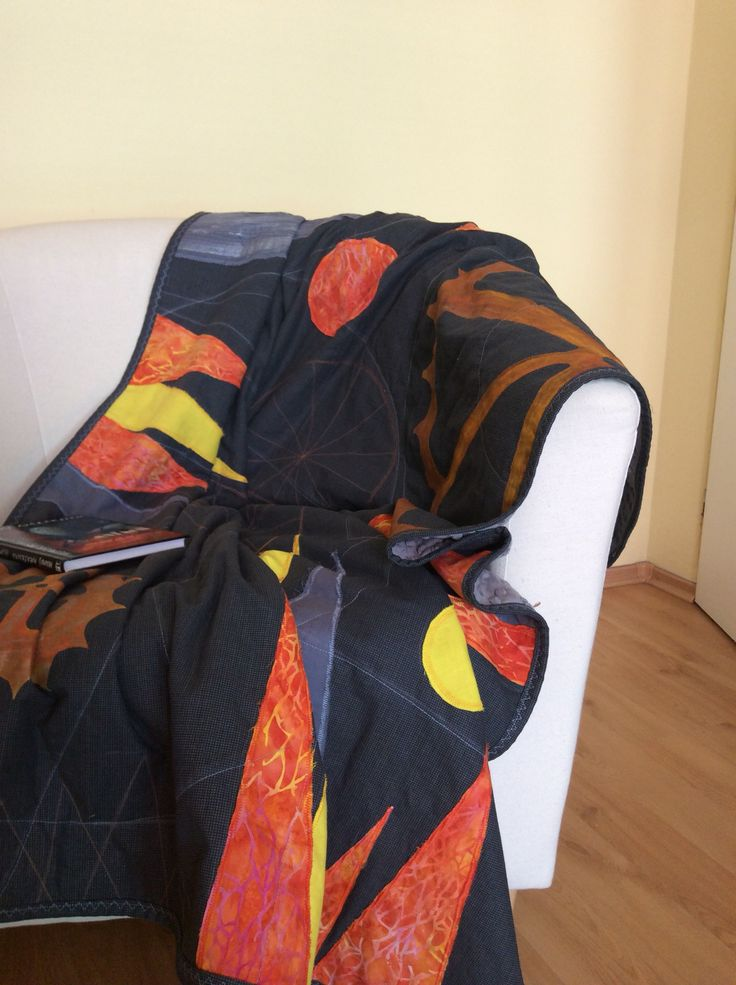 modern quilt, applique and fabric painting