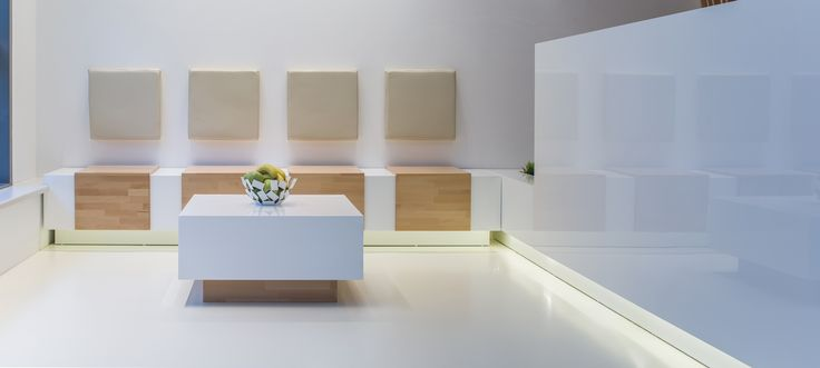 reception with sitting places from white glossy MDF and oak orders/price offers at: office@liniafurniture.ro