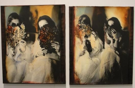 Laila Muraywid - Syrian Artist The Flesh Opens and Blood Flows, 2009 Draw painted silver gelatin mounted 98 x 184 cm (polyptych of 8 pieces)