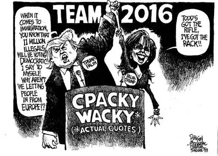 Political cartoons on Donald Trump and Republican Party