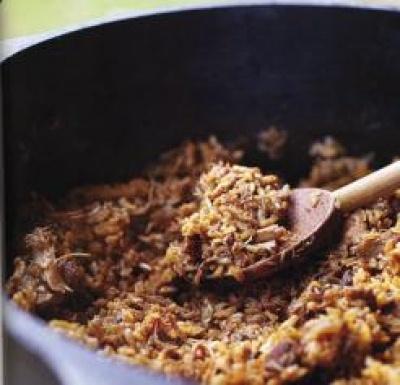 Old School CHicken and Sausage Jambalaya Donald Link, Real Cajun Cookbook