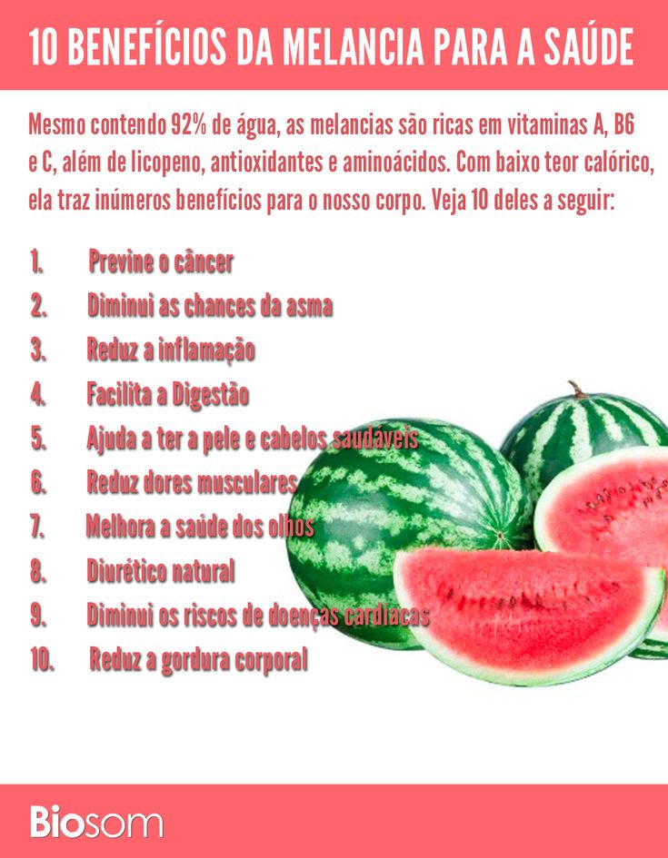 Mesmo contendo 92% de água, a melancia é rica em vitaminas A, B6 e C, além de licopeno, antioxidantes e aminoácidos. Veja os 10 benefícios da melancia.