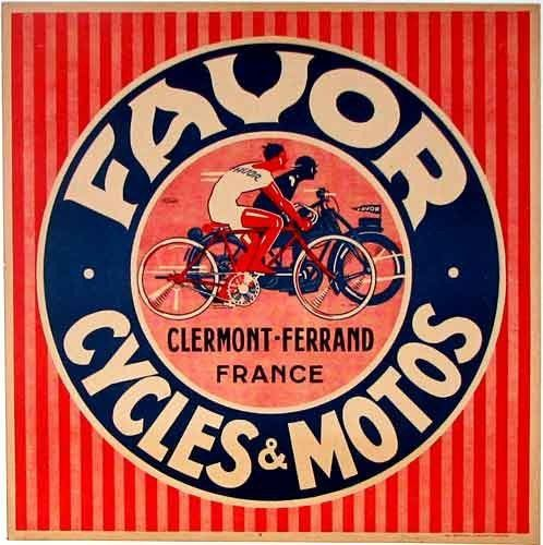 Favor Cycles & Motos, Clermont-Ferrand, France. 1930s Jean Pruniere, artist