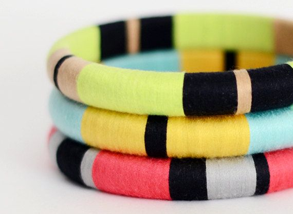 Colorblock Layered Bangles with Stripes Mix & by theglossyqueen, $48.00