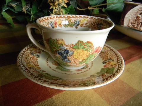 Brown Polychrome Transferware Woods Teacup Tea Cup and Saucer Flowers and Grapes…