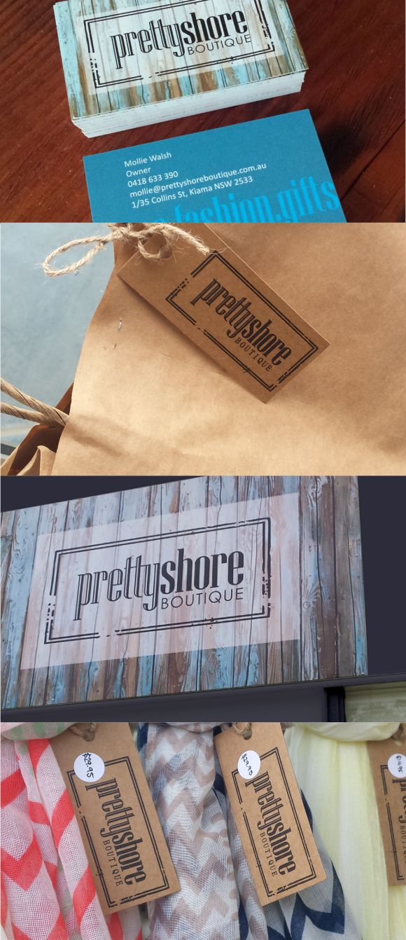 Effective design and branding for signs, business cards and swing tags.