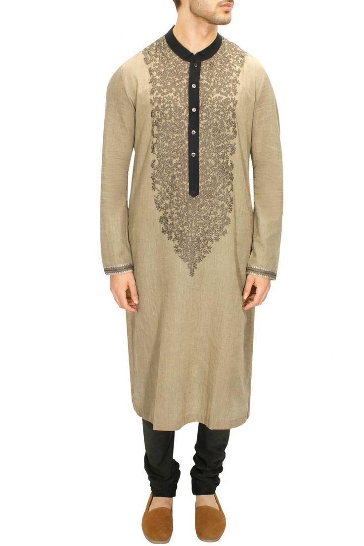 LAIDBACK LUXURY : Grey khadi hand embroiderd kurta with military green churidaar by Sabyasachi. Shop now at www.perniaspopups... #fashion #designer #sabyasachi #shopping #couture #shopnow #perniaspopupshop #happyshopping
