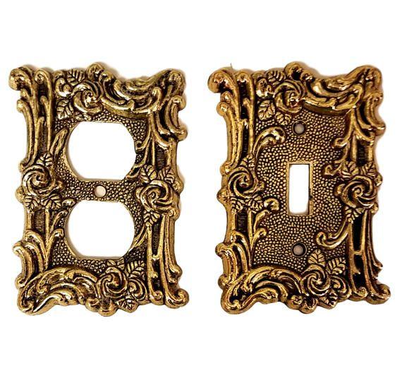 I'm pretty sure we had these in our living room; growing up in the 70's & 80's. Bronze Electric and Light Switch Plates With Lots of Scrolls