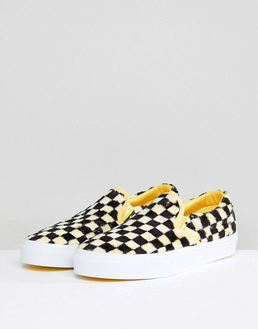 17fb0f5b9b Vans Fluffy Yellow Checkerboard Slip On Sneakers in 2019