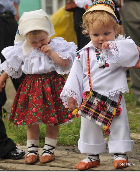 Romanian children in traditional garb. (Romania, Eastern Europe)