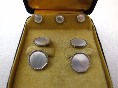 Vintage MOP & Rolled Gold 3 Tuxedo Studs w/Cufflinks Original box 1900 Quebec