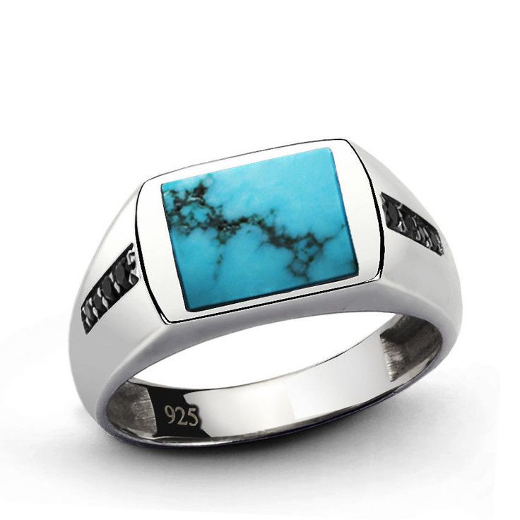 Mens Silver Ring Sterling Silver Ring Natural Blue Turquoise Ring Men 10.5 size…