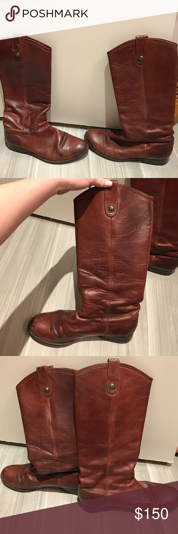 Frye Melissa Boot in Cognac Size 9, Worn in cognac Frye Melissa boot. Had them resoled a few years ago. Can send close up shots for those who would like them! Frye Shoes Heeled Boots