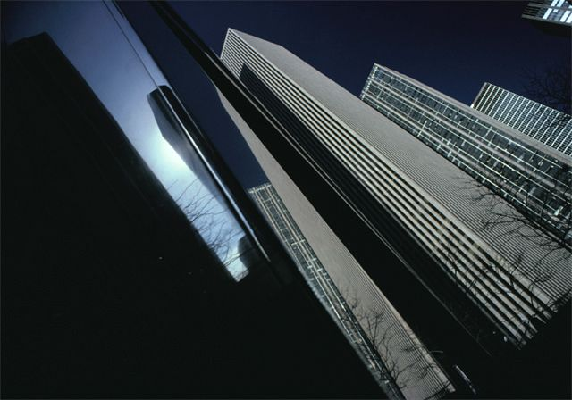 Ernst Haas. Magnum photo agency. Having researched this image from the  Magnum Photo agency, I intend to experiment with tilting the camera and looking at the simple lines created by modern buildings in shadows.