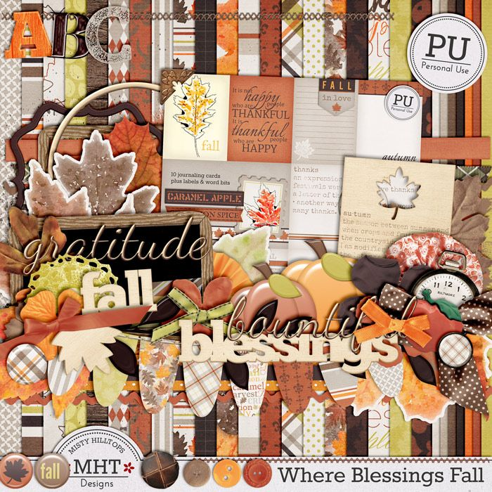 """Freebie Friday: Most recent kit """"Where Blessings Fall"""" is absolutely gorgeous! Fall is at hand (at least in some parts of the world, which means that this is the time... #digiscrap #mistyhilltops #freebiefriday"""