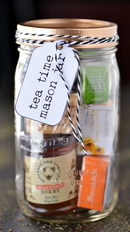 Tea Time Mason Jar with Printable Tag ~ can be customized with whichever products you want to buy as long as they will fit into the jar!... the perfect homemade gift idea for the tea lovers in your life!