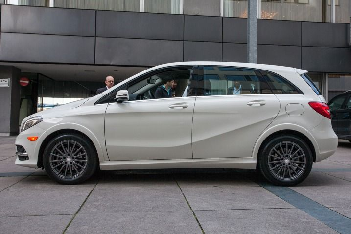 The Mercedes-Benz B-Class Electric Drive will debut in the U.S. in mid-2014, with sales in Europe following a few months later. Thanks to a partnership with Tesla, the 177-horsepower Mercedes five-passenger hatchback's drivetrain is derived from the Model S.