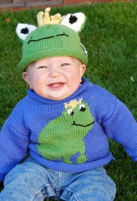 Free Knitting Pattern for Frog Prince Baby Hat and Sweater - Sizes 6 mo. (1 yr, 2 yr, 4 yr). Designed by Cascade Yarns.