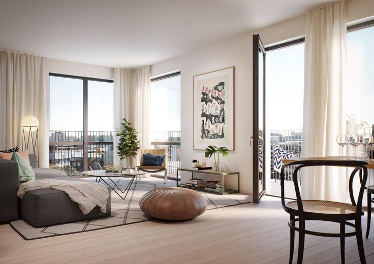 Tobin Properties: #tobinproperties Ljust vardagsrum med stora fönster och utgång till balkong. Breda golvtiljor i vitpigmenterad ek.