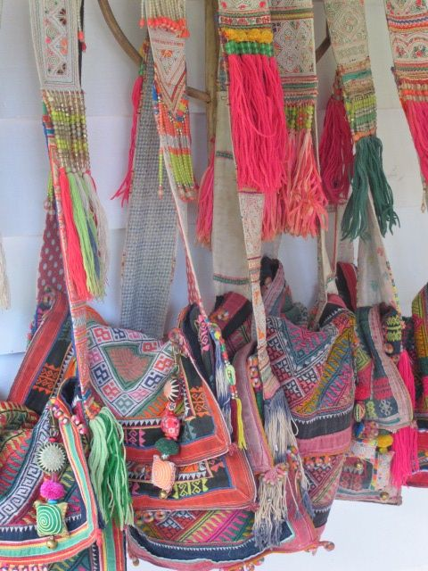 """Gypsy River """"...handmade tassels and...vintage Lao's fabric and beaded bags. - inspiration for crochet"""