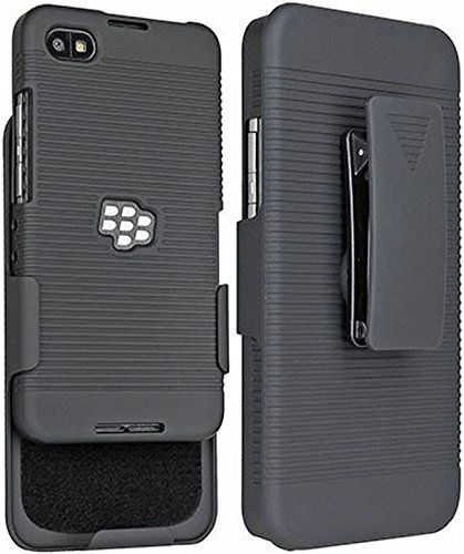 Saapni Premium Blackberry Z30 Holster Combo - Rubberized Ribbed Texture Shell And Holster With Fixed Ratching Belt Clip - Black