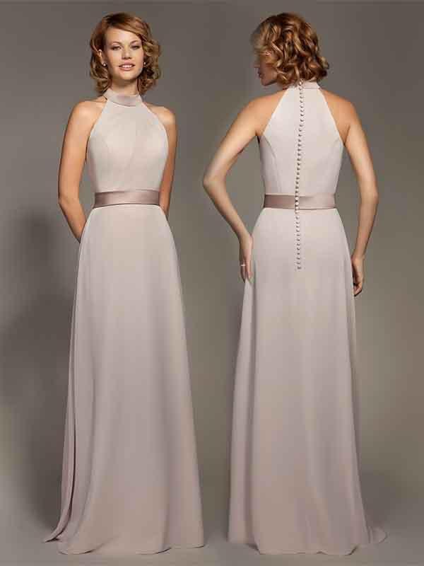 2015 Real Picture Elegant High Neck Bridesmaid dress Cheap Bridesmaid Gowns Floor-Length Party Dresses Cappuccino Chiffon Satin Sash Zipper