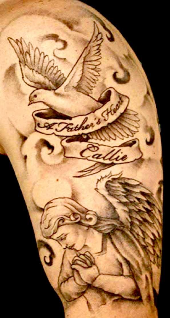 Dove above an angel tattoo. For more stunning and wonderful tattoo ideas and design, visit www.tattooenigma.com