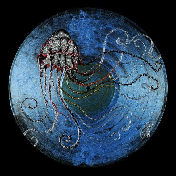 Painted vinyl record Deep dark sea by CreationsALAJenni on Etsy