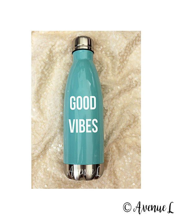 Good Vibes Water Bottle  White Letters  Metal Water Bottle