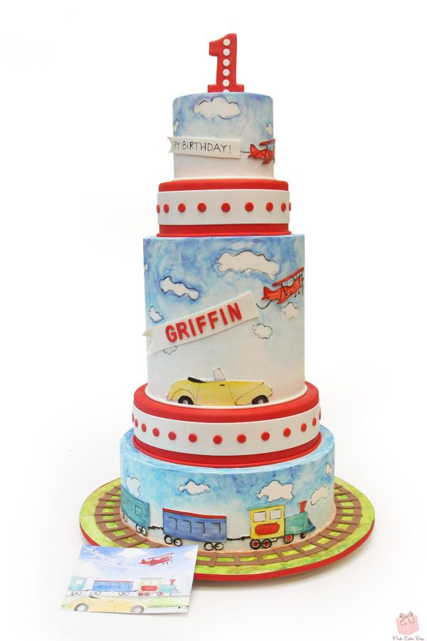 Griffin's 1st Birthday Cake - Planes, Trains and Automobiles theme!  #1st #birthday #cake