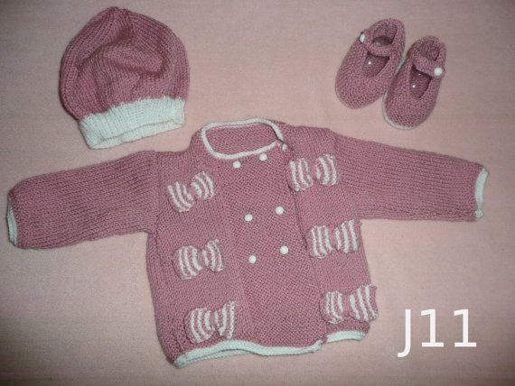 Baby Girl's hand knitted Jacket with by KnitsbyJustJenny on Etsy